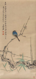 Asian:Chinese, Attributed to Zhang Daqian (Chinese, 1899-1983). Magpie onPrunus Branch. Ink and color on paper. 32-3/8 inches high x1...