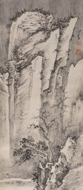 Asian:Chinese, Attributed to Pu Ru (Chinese, 1896-1963). MountainLandscape. Ink and color on paper. 27 inches high x 11 incheswide (6...