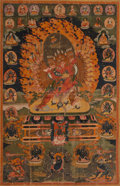 Asian:Chinese, A Tibetan Thangka Depicting Hayagriva Yab Yum, 18th century. 42-1/4inches high x 28 inches wide (107.3 x 71.1 cm) ...