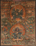 Asian:Chinese, A Large Tibetan Thangka Depicting Yama and Mahakala, 18th-19thcentury. 45-1/8 inches high x 34-1/2 inches wide (114.6 x 87....