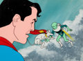 Animation Art:Production Cel, New Adventures of Superman Superboy/Superman Production CelSetup and Production Background (Filmation, 1966). ...