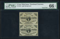 Fractional Currency:Third Issue, Fr. 1226 3¢ Third Issue Uncut Pair PMG Gem Uncirculated 66 EPQ.. ...