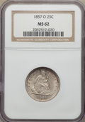 Seated Quarters: , 1857-O 25C MS62 NGC. NGC Census: (5/5). PCGS Population: (6/18). CDN: $1,500 Whsle. Bid for NGC/PCGS MS62. Mintage 1,180,00...