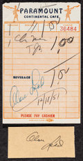 """Movie Posters:Miscellaneous, Alan Ladd (c. 1940s-1950s). Autographed Card (3"""" X 1.5""""), Photos (3) (8"""" X 10""""), and Autographed Receipt (3.5"""" X 5.5""""). Misc... (Total: 5 Items)"""