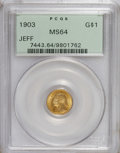 Commemorative Gold: , 1903 G$1 Louisiana Purchase/Jefferson MS64 PCGS. A highly lustrousand well-defined near-Gem that has few marks for the gra...