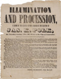 Political:Posters & Broadsides (pre-1896), James K. Polk: A Rare 1844 Political Broadside From Lancaster, Pennsylvania Announcing a Torchlight Procession. Of the many ...