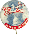 """Political:Pinback Buttons (1896-present), Alfred M. Landon: The Key 1¼"""" """"Land On Washington"""" Button Variety.Long gone were the days of the inventive and colorful but..."""