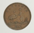 Australian Tokens: , Australian 19th Century Merchant Token Group Lot. Includes a pennytoken issued by Lewis Abrahams of Tasmania and dated 1855...(Total: 2 tokens)