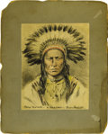 "Western Expansion:Indian Artifacts, Chief Crow Feather Portrait By Dolph Levino. Artist-signed coloredsketch, 5"" x 6.5"" on 8"" x 10"" mount, titled ""CROW FEATHER..."