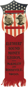 Political:Ribbons & Badges, McKinley & Roosevelt: A Spectacular Large Celluloid Shield with Attached Ribbon. Unbelievably vibrant red, white, and blue c...