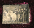 "Political:Ferrotypes / Photo Badges (pre-1896), Lincoln's Death Scene Cased Gem Tintype. A lithograph of Lincoln'sdeathbed has been reduced here to a 1"" x .75"" tintype. Sh..."