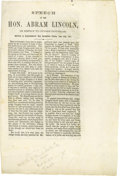"Books:Pamphlets & Tracts, Abraham Lincoln Printed Speech ""In Reply To Judge Douglas"" datedJune 26, 1857 A printed copy of ""Speech of the Hon. Abram [..."