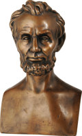 "Political:3D & Other Display (1896-present), Pompeian Bronze Company Lincoln Bust. ""335"" stamped in the rear ofthe bust along with ""Pompeian Bronze Co."". This lovely bu..."