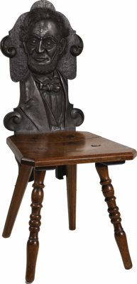 Unusual 1909 Lincoln and Washington Carved Chairs Made of oak, with busts of Lincoln and Washington carved into the back...