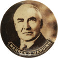 """Political:Pinback Buttons (1896-present), Warren G. Harding 1¼"""" Pinback. A wonderful sepia photograph of 1920's Republican presidential candidate graces this large an..."""