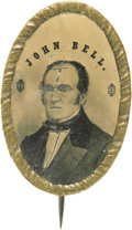 Political:Ferrotypes / Photo Badges (pre-1896), John Bell: A Rare Large Oval Ferrotype Brooch for this 1860 LincolnOpponent. There were four presidential candidates in 186...