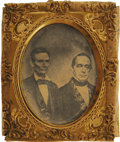 Political:Ferrotypes / Photo Badges (pre-1896), Lincoln & Hamlin: An Astonishing 1860 Jugate Campaign Item ThatWe Have Never Seen Before. Conjoined portraits of the 1860 R...