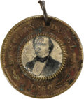 Political:Ferrotypes / Photo Badges (pre-1896), Douglas & Johnson Ferrotype. 25mm. overall with a smaller recessed area surrounded by a raised border that houses the tintyp...