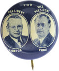 """Political:Pinback Buttons (1896-present), Landon & Knox: Jugate 3/4"""" Pinback. A highly desirable and attractive button featuring the defeated Republican presidential ..."""