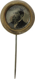 Political:Ferrotypes / Photo Badges (pre-1896), James A. Garfield: A Choice 1880 Ferrotype Stick Pin. The vastmajority of ferrotypes suffer from surface imperfections. For...