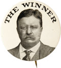 Political:Pinback Buttons (1896-present), Theodore Roosevelt: One of the Most Popular Button Designs of his 1912 Bull Moose Candidacy. While Teddy did not prove to be...