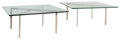 Furniture , A Pair of Miles Van Der Rohe Chrome and Glass Barcelona Coffee Tables. 17 x 40 x 40 inches (43.2 x 101.6 x 101.6 cm). ... (Total: 2 Items)