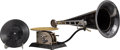 Decorative Arts, Continental:Other , A Standard Talking Machine Company Cast Iron Phonograph, circa1905. 12 x 20 x 8-1/2 inches (30.5 x 50.8 x 21.6 cm). ... (Total: 3Items)