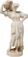 Sculpture, After Orazio Andreoni (Italian, active 1880-1900). Girl with Tambourine. Carved Marble. 39 x 21 x 13 inches (99.1 x 53.3...