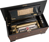 A Swiss Inlaid Zither Cylinder Music Box, early 20th century 9-1/4 x 21 x 9-1/2 inches (23.5 x 53.3 x 24.1 cm)