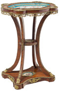 Furniture , A Mahogany Side Table with Gilt Bronze Mounts and Inset Sèvres-Style Porcelain Panels, France, late 19th century . 29-1/8 x ...