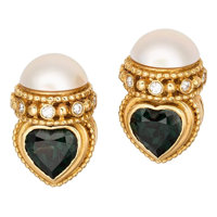Diamond, Mabe Pearl, Synthetic Green Spinel, Gold Earrings