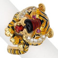 Estate Jewelry:Rings, Diamond, Ruby, Enamel, Gold Ring. ...