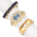 Estate Jewelry:Rings, Sapphire, Diamond, Gold Rings. ... (Total: 3 Items)