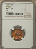 Patterns, (circa 1967) General Motors Cent, Pollock-4060, R.5, MS62 Red and Brown NGC. Control Code 9-R....