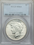 Peace Dollars, 1934-D $1 MS64 PCGS. PCGS Population: (1443/624). NGC Census: (791/253). CDN: $400 Whsle. Bid for problem-free NGC/PCGS MS6...