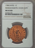 (Circa 1945) 1C Massachusetts Cent, Evans Copper Restrike, MS65 Red NGC. NGC Census: (15/5). PCGS Population: (0/0)....(...
