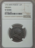 1773 1/2 P Virginia Halfpenny, Period, VF30 NGC. NGC Census: (6/153). PCGS Population: (3/320). CDN: $150 Whsle. Bid for...