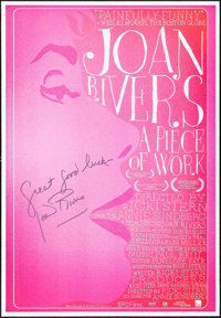"""Joan Rivers: A Piece of Work (IFC Films, 2010). Autographed One Sheet (27"""" X 39""""). Documentary"""