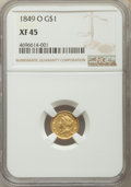 Gold Dollars, 1849-O G$1 Open Wreath XF45 NGC. NGC Census: (29/721). PCGS Population: (34/396). CDN: $260 Whsle. Bid for problem-free NGC...