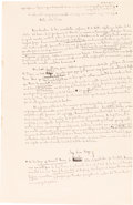 Books:Literature 1900-up, Jorge Luis Borges. [Nota sobre la paz. Buenos Aires?:undated, possibly 1945.] Original manuscript. Signed....