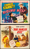 "Movie Posters:Western, Ride, Ranger, Ride & Others Lot (Republic, R-1940s) Folded, Fine+. Half Sheets (4) (22"" X 28""). Western.. ..."