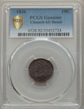 Bust Dimes, 1836 10C -- Cleaned -- PCGS Genuine Secure. AU Details. NGC Census:(4/178 and 0/2+). PCGS Population: (25/220 and 0/4+). A...