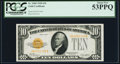Small Size:Gold Certificates, Fr. 2400 $10 1928 Gold Certificate. PCGS About New 53PPQ.. ...