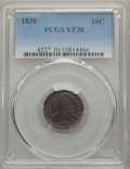 Bust Dimes: , 1835 10C VF30 PCGS. PCGS Population: (79/701). NGC Census:(21/450). Mintage 1,410,000. ...