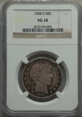 """Barber Half Dollars, 1904-S 50C VG10 NGC. This lot will also include a: 1913-S 50C VG10 NGC. Ex: """"Colonel"""" E.H.R. Green; Green Estate; ... (Total: 2 coins)"""