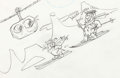 Animation Art:Concept Art, The Flintstones Fred and Barney Concept Drawing Original Art(Hanna-Barbera, c. 1970s-80s)....