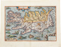 Books:Maps & Atlases, Abraham Ortelius. Islandia. [Antwerp: circa 1585]. Early mapof Iceland, from a Latin volume of Ortelius's Theatru...