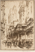 Fine Art - Work on Paper, Joseph Pennell (American, 1857-1926). The Elevated/LowerBroadway, 1922. Etching on paper. 9-7/8 x 7 inches (25.1 x17.8...