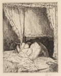 Prints & Multiples, Childe Hassam (American, 1859-1935). Reading in Bed, 1915. Etching on paper. 6-7/8 x 5-3/8 inches (17.5 x 13.7 cm) (plat...