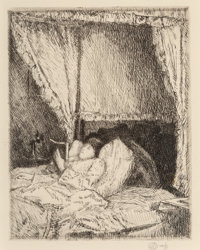 Childe Hassam (American, 1859-1935) Reading in Bed, 1915 Etching on paper 6-7/8 x 5-3/8 inches (1